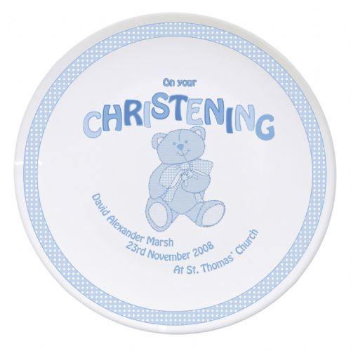 Personalised Teddy Blue Christening Plate